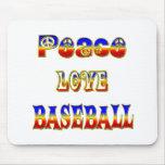 Béisbol del amor de la paz tapetes de raton
