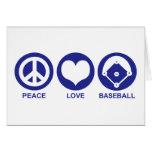 Béisbol del amor de la paz tarjeton