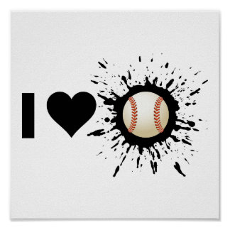 Béisbol del amor del explosivo I Póster