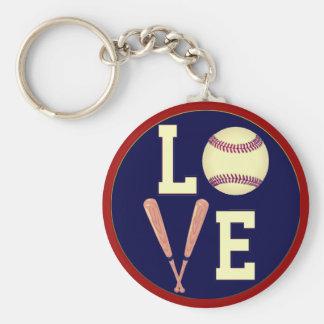 Béisbol del amor (retro) llavero redondo tipo pin