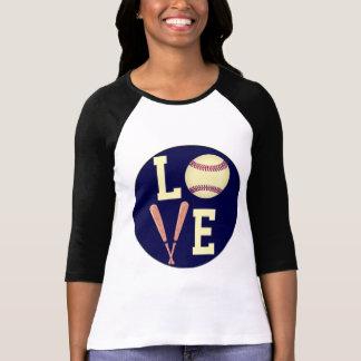 Béisbol del amor (retro) camisetas