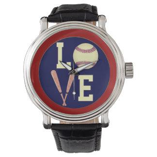 Béisbol del amor (retro) reloj de mano