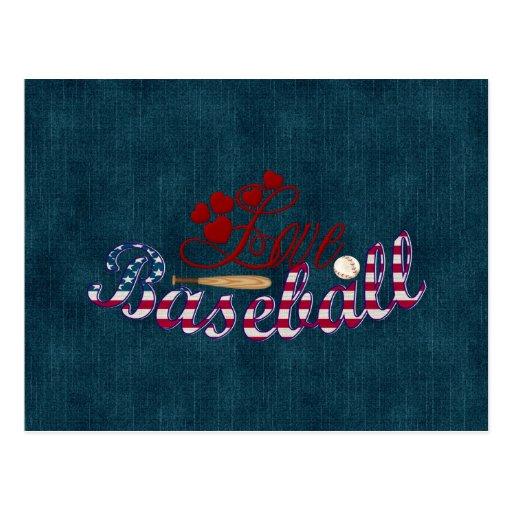 Béisbol del amor tarjeta postal