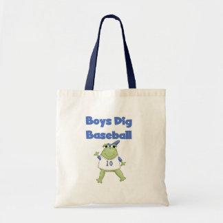 Béisbol del empuje de los muchachos de la rana bolsa lienzo