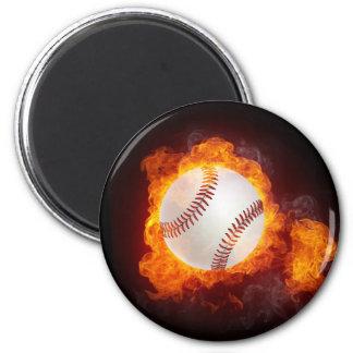 Béisbol del fuego imán redondo 5 cm