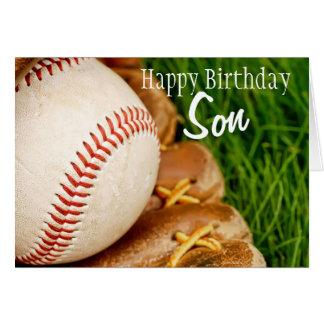 Béisbol del hijo del feliz cumpleaños con el mitón tarjeta de felicitación