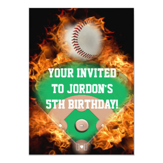 """Béisbol del home run en el fuego invitación 5"""" x 7"""""""