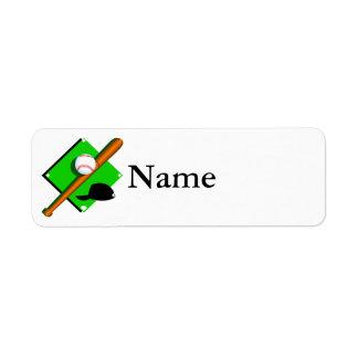 béisbol del logotipo etiquetas de remite