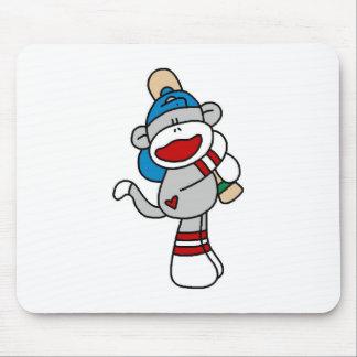 Béisbol del mono del calcetín en las camisetas y tapete de ratón