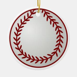 Béisbol del navidad adorno navideño redondo de cerámica