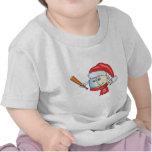 Béisbol del navidad en el gorra de santa camisetas