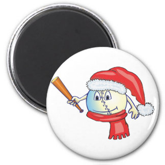 Béisbol del navidad en el gorra de santa iman
