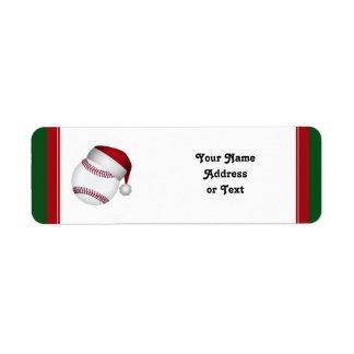Béisbol del navidad etiqueta de remite