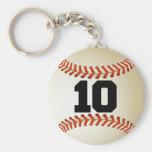 Béisbol del número 10 llavero personalizado