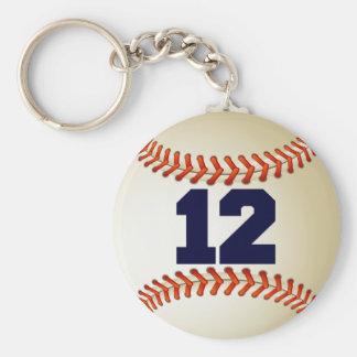 Béisbol del número 12 llavero redondo tipo pin