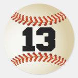 Béisbol del número 13 pegatinas redondas