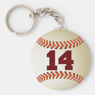 Béisbol del número 14 llavero personalizado