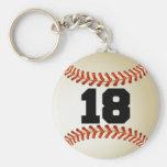 Béisbol del número 18 llaveros