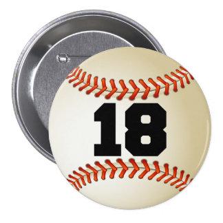 Béisbol del número 18 pin