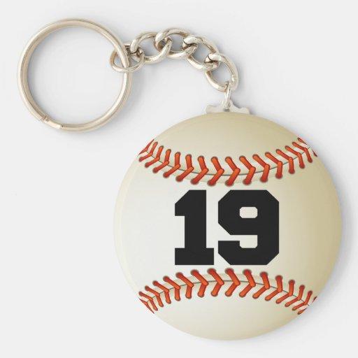 Béisbol del número 19 llavero redondo tipo pin