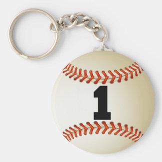 Béisbol del número 1 llavero redondo tipo pin
