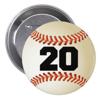 Béisbol del número 20 pin redondo 7 cm