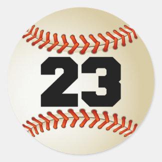 Béisbol del número 23 pegatinas redondas