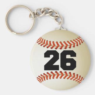 Béisbol del número 26 llavero redondo tipo pin