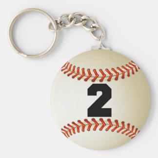 Béisbol del número 2 llavero redondo tipo pin