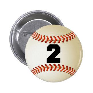 Béisbol del número 2 pin redondo 5 cm