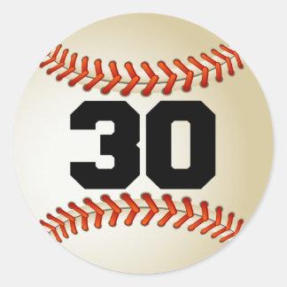 Béisbol del número 30 pegatina redonda