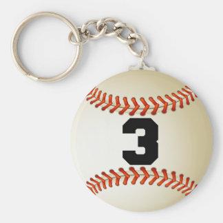Béisbol del número 3 llavero redondo tipo pin