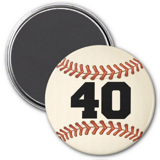 Béisbol del número 40 imán redondo 7 cm