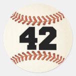 Béisbol del número 42 pegatina redonda