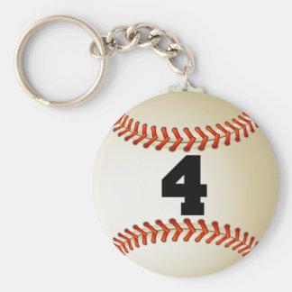 Béisbol del número 4 llavero redondo tipo pin