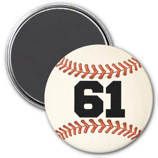 Béisbol del número 61 iman de frigorífico