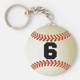 Béisbol del número 6 llavero redondo tipo pin