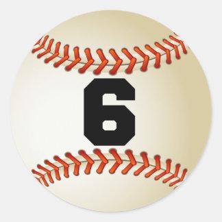 Béisbol del número 6 etiquetas redondas