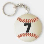 Béisbol del número 7 llaveros