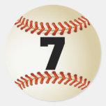 Béisbol del número 7 pegatina redonda