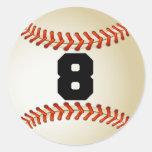 Béisbol del número 8 pegatinas redondas
