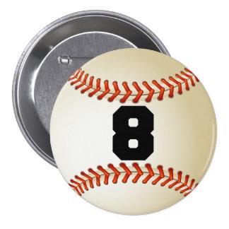Béisbol del número 8 pin redondo 7 cm