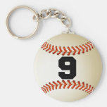Béisbol del número 9 llaveros
