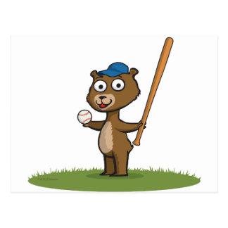 Béisbol del oso de peluche postal
