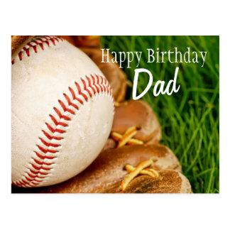 Béisbol del papá del feliz cumpleaños con el mitón tarjeta postal