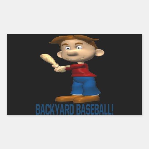 Béisbol del patio trasero pegatina rectangular
