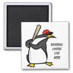 béisbol del pingüino, béisbol loverslive aquí iman de nevera