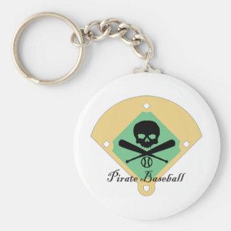 Béisbol del pirata con el fondo del campo llaveros