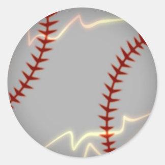 Béisbol del relámpago pegatina redonda