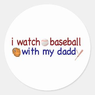 Béisbol del reloj con el papá etiquetas redondas